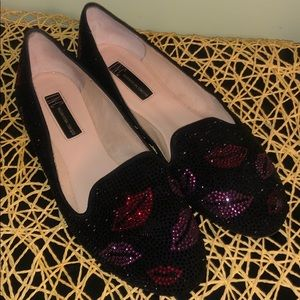 INC flats (black with red and pink kisses)